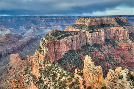 extreme terrain - Afternoon thunder shower, from Cape Royal Point, North Rim, Grand Canyon National Park, UNESCO World Heritage Site, Arizona, United States of America, North America Stock Photo - Premium Royalty-Free, Code: 6119-08703773