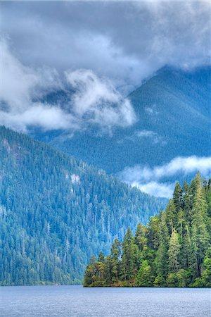 Cresent Lake, Aurora Ridge in the background, Olympic National Park, UNESCO World Heritage Site, Washington, United States of America, North America Stock Photo - Premium Royalty-Free, Code: 6119-08703778