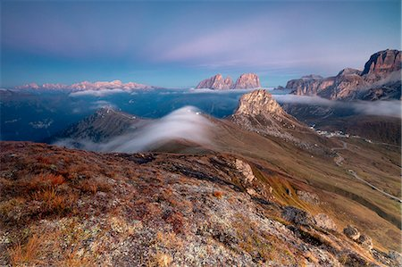 extreme terrain - View of Sass Beca and Sassolungo at dawn from Cima Belvedere, Canazei, Val di Fassa, Trentino-Alto Adige, Italy, Europe Stock Photo - Premium Royalty-Free, Code: 6119-08841070
