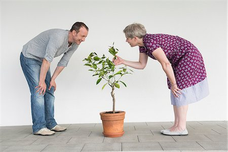 relationship - Mature couple caring for little tree, smiling Stock Photo - Premium Royalty-Free, Code: 6121-07740994