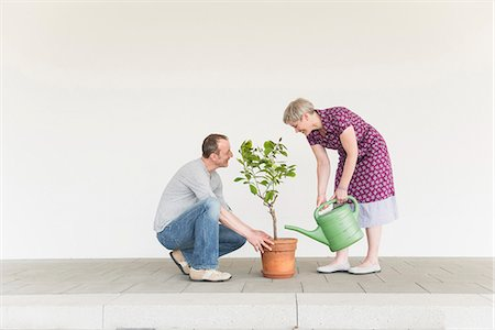 Mature couple caring for little tree, smiling Stock Photo - Premium Royalty-Free, Code: 6121-07740998