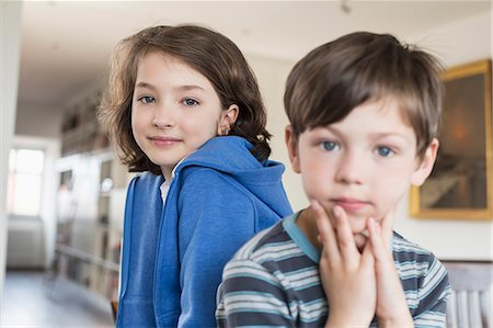 elementary age - Portrait of girl and boy, smiling Stock Photo - Premium Royalty-Free, Code: 6121-07740912