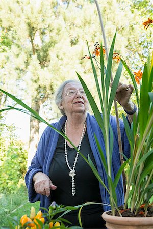 Female senior looking at her pot plant Stock Photo - Premium Royalty-Free, Code: 6121-07741226