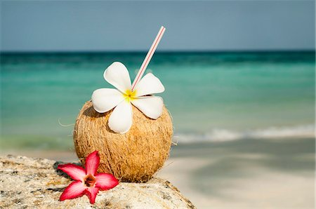 coconut with cocktail at the beach, Koh Lipe, Thailand Stock Photo - Premium Royalty-Free, Code: 6121-07741944