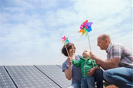 Alternative energy young family wind solar power Stock Photo - Premium Royalty-Free, Code: 6121-07810043