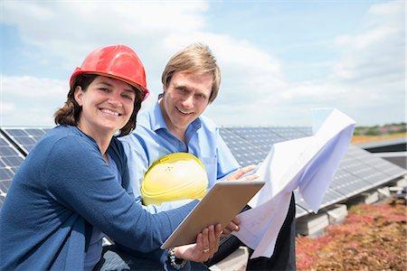 Solar energy park meeting architect client Stock Photo - Premium Royalty-Free, Code: 6121-07810064
