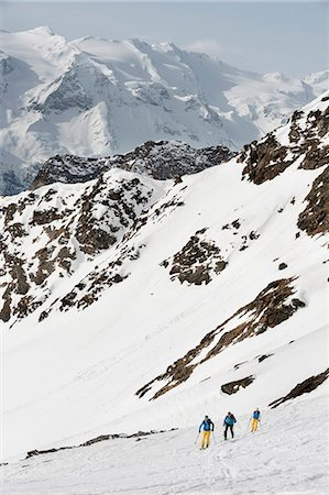 Alps mountains skiers cross-country winter Stock Photo - Premium Royalty-Free, Code: 6121-07810349