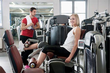 Portrait woman fitness studio man sport fit Stock Photo - Premium Royalty-Free, Code: 6121-07970179
