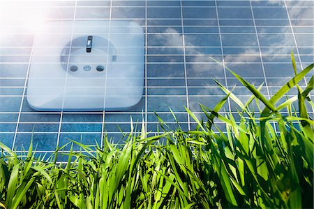 science & technology - Solar panel with power socket representing environmental conservation, Bavaria, Germany Stock Photo - Premium Royalty-Free, Code: 6121-07992665