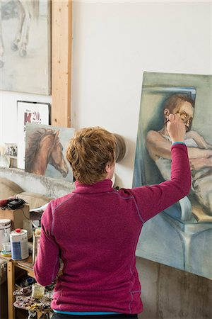 painter - Woman painting, Bavaria, Germany Stock Photo - Premium Royalty-Free, Code: 6121-08106696