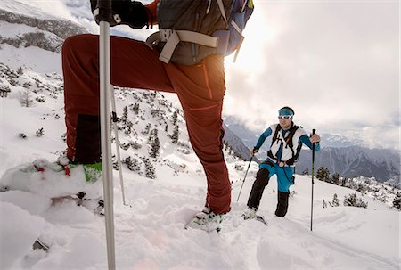 extreme terrain - Ski mountaineers climbing on snowy mountain, Tyrol, Austria Stock Photo - Premium Royalty-Free, Code: 6121-08228687