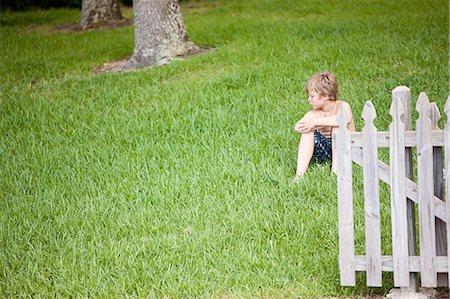preteen boy shirtless - Boy sitting on green grass Stock Photo - Premium Royalty-Free, Code: 6122-07695773