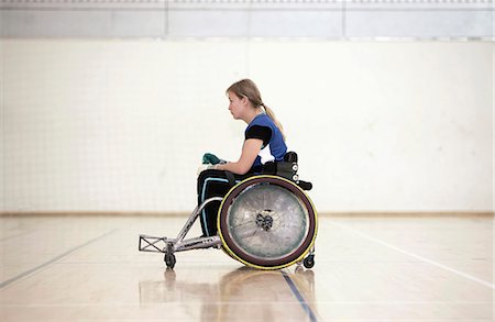 disable exercising - Para rugby player in wheelchair Stock Photo - Premium Royalty-Free, Code: 6122-07700106