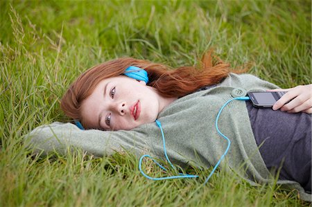 preteen beauty - Teenage girl listening to headphones Stock Photo - Premium Royalty-Free, Code: 6122-07702712