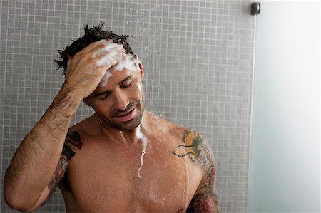 shower - Man washing his hair in shower Stock Photo - Premium Royalty-Free, Code: 6122-07703389
