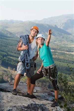 rock climber - Climbers surveying mountaintop Stock Photo - Premium Royalty-Free, Code: 6122-07704998
