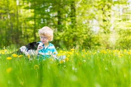 Boy with dog in field of tall grass Stock Photo - Premium Royalty-Free, Code: 6122-07706771