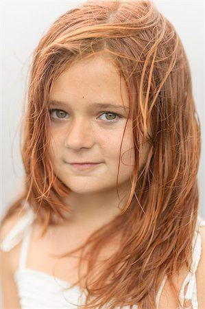 red hair preteen girl - Sweden, Vastmanland, Bergslagen, Hallefors, Sangshyttan, Portrait of girl (8-9) by lake Stock Photo - Premium Royalty-Free, Code: 6126-08643970