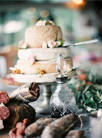 smoked - Italy, Cured meats, wine and Italian cheese on dining table Stock Photo - Premium Royalty-Free, Code: 6126-08644330