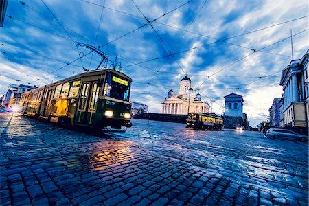 Finland, Helsinki, Kronohagen, Cable cars at night Stock Photo - Premium Royalty-Free, Code: 6126-08644512