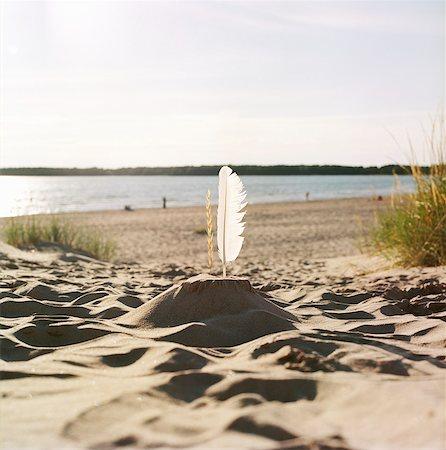 square - Finland, Pori, Yyteri, Sandcastle with feather on sandy beach Stock Photo - Premium Royalty-Free, Code: 6126-08636474