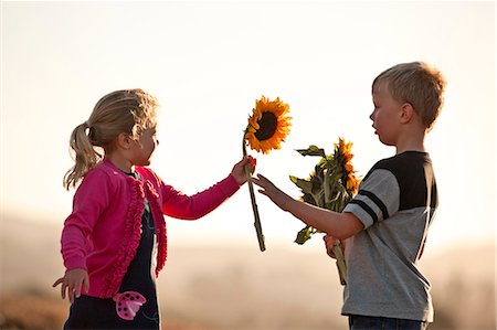 Little boy giving sunflower to little girl. Stock Photo - Premium Royalty-Free, Code: 6128-08748187