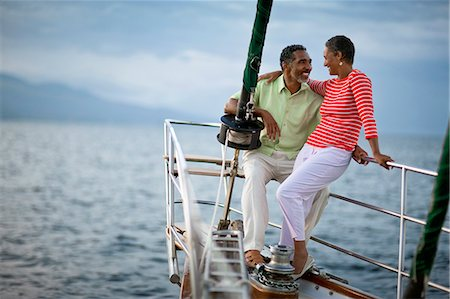 sports and sailing - Mature couple on a sailboat Stock Photo - Premium Royalty-Free, Code: 6128-08798969