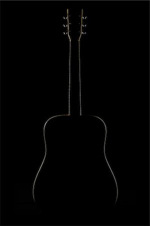 The silhouette of acoustic guitar , black backgrou Stock Photo - Premium Royalty-Free, Code: 613-07068066