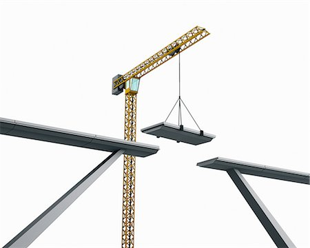 A bridge being assembled by a crane Stock Photo - Premium Royalty-Free, Code: 613-07454007