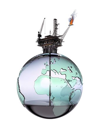 Oil rig on globe crude oil texture Stock Photo - Premium Royalty-Free, Code: 613-07458966