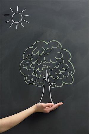 draw black women - Tree drawn on the blackboard Stock Photo - Premium Royalty-Free, Code: 613-07780839