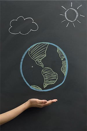 draw black women - Earth drawn on a blackboard Stock Photo - Premium Royalty-Free, Code: 613-07780857