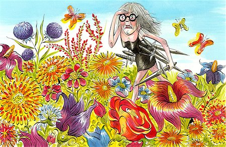 Angry old lady in a field of flowers Stock Photo - Premium Royalty-Free, Code: 613-07845232