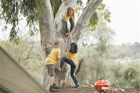 Young children helping friend to climb tree in forest Stock Photo - Premium Royalty-Free, Code: 613-07848227
