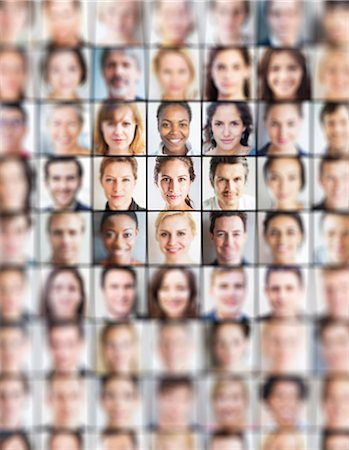 Grid of portraits, all blurred but one sharp one Stock Photo - Premium Royalty-Free, Code: 613-08056869