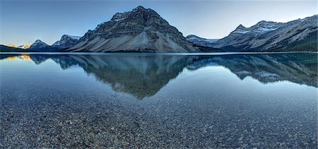 scenic view - Reflection of mountains on tranquil lake surface Stock Photo - Premium Royalty-Free, Code: 613-08057371