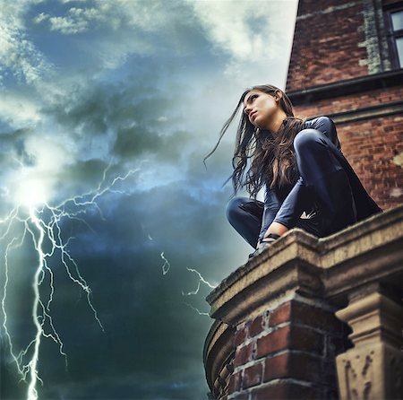 storm lightning - She's a force of nature - Superhero Stock Photo - Premium Royalty-Free, Code: 613-08057662