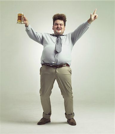 fat man full body - Time to party! Stock Photo - Premium Royalty-Free, Code: 613-08526479