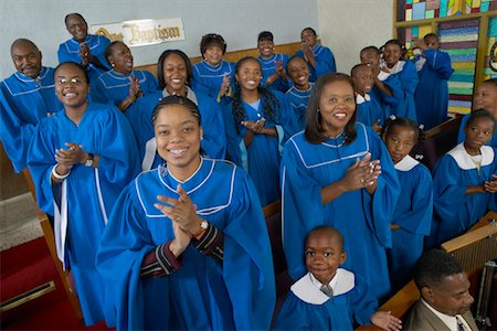 Portrait of a Gospel Choir Clapping Their Hands in a Gospel Service Stock Photo - Premium Royalty-Free, Code: 613-00624652