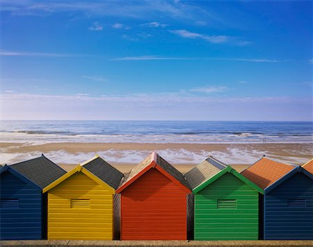 Painted Beach Huts in a Line, Whitby, England, UK Stock Photo - Premium Royalty-Free, Code: 613-00626740