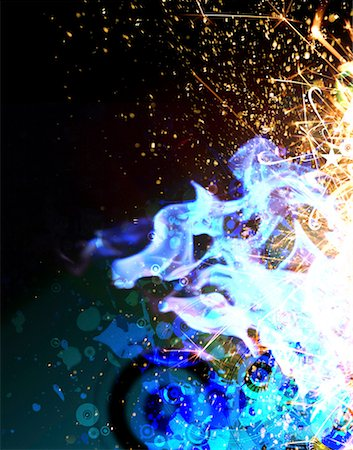 sparks illustration - Abstract flames and sparks (Digital) Stock Photo - Premium Royalty-Free, Code: 613-01394035