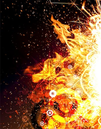 sparks illustration - Abstract flames and sparks (Digital) Stock Photo - Premium Royalty-Free, Code: 613-01394036