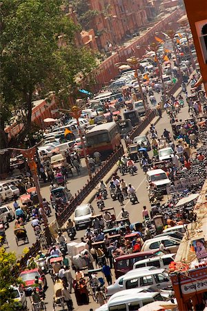 High angle view of traffic on the streets, Jaipur, Rajasthan, India Stock Photo - Premium Royalty-Free, Code: 625-00806447