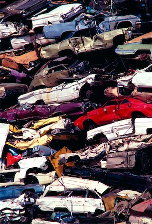 Piles of junk cars, Los Angeles, California Stock Photo - Premium Royalty-Free, Code: 625-00840346