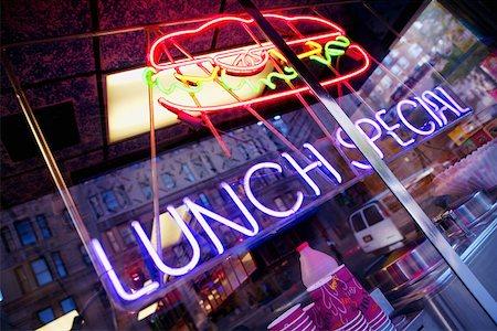 restaurant new york manhattan - Close-up of a neon sign of a restaurant, Manhattan, New York City, New York State, USA Stock Photo - Premium Royalty-Free, Code: 625-01252109