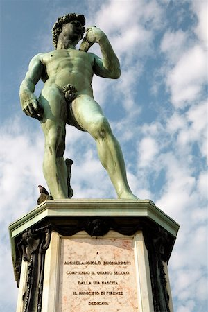 statue of david - Low angle view of a statue, Michelangelo's David, Piazzale Michelangelo, Florence, Tuscany, Italy Stock Photo - Premium Royalty-Free, Code: 625-01751296