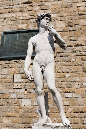 statue of david - Statue in front of a brick wall, Michelangelo's David, Piazza Della Signoria, Florence, Italy Stock Photo - Premium Royalty-Free, Code: 625-01751332