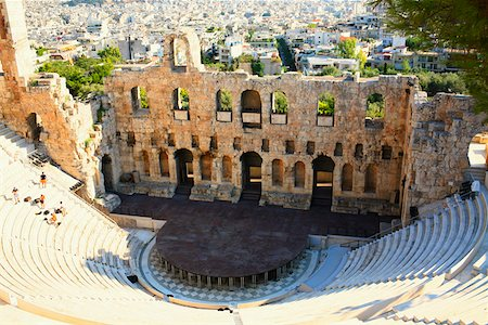 High angle view of an amphitheater, Theater Of Herodes Atticus, Athens, Greece Stock Photo - Premium Royalty-Free, Code: 625-01752281