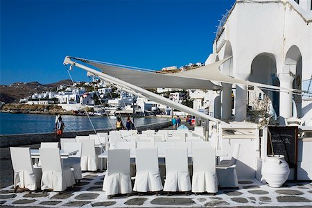 Restaurant on the coast, Mykonos, Cyclades Islands, Greece Stock Photo - Premium Royalty-Free, Code: 625-01752547