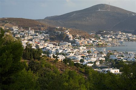 High angle view of a cityscape, Skala, Patmos, Dodecanese Islands Greece Stock Photo - Premium Royalty-Free, Code: 625-01752595
